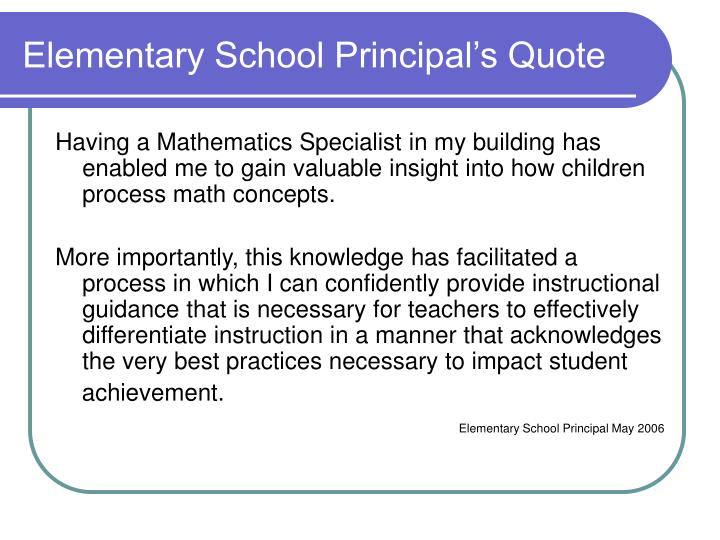 Elementary School Principal's Quote