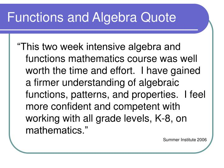 Functions and Algebra Quote