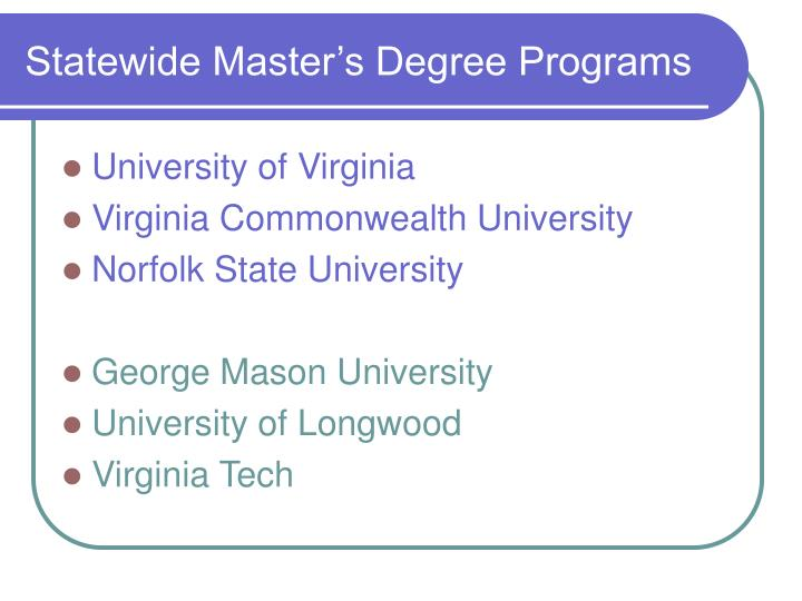 Statewide Master's Degree Programs
