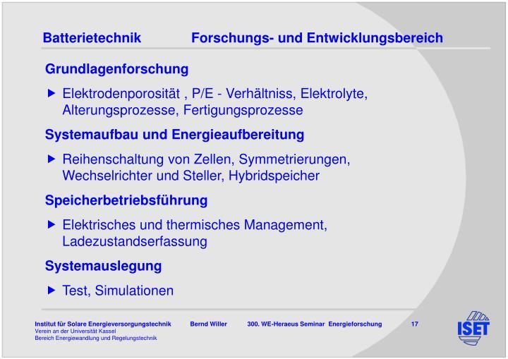 BatterietechnikForschungs- und Entwicklungsbereich