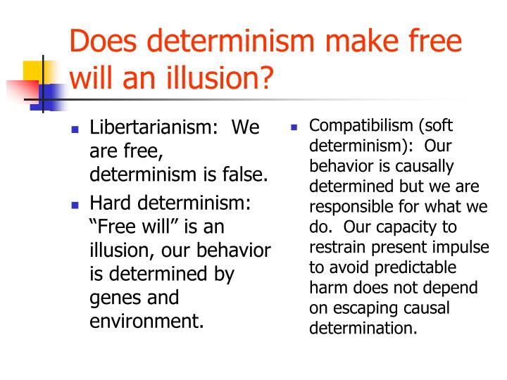 determinism and moral responsibility Because free will is typically taken to be a necessary condition of moral responsibility, compatibilism is moral responsibility from determinism since a.