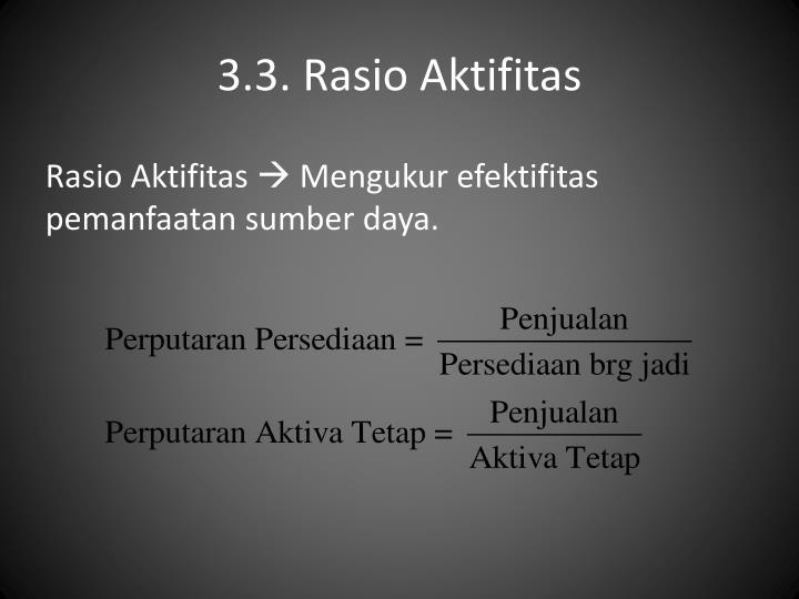 3.3. Rasio Aktifitas