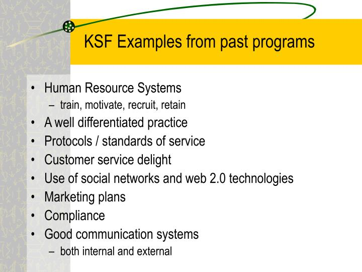 KSF Examples from past programs