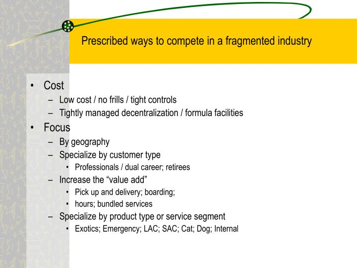 Prescribed ways to compete in a fragmented industry