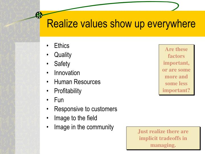 Realize values show up everywhere