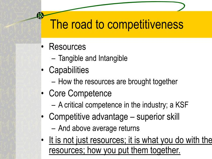 The road to competitiveness