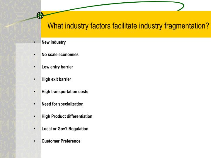 What industry factors facilitate industry fragmentation?