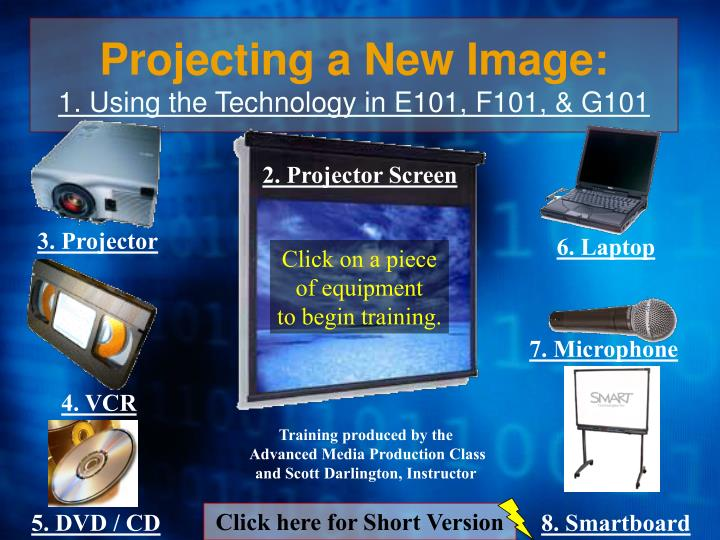 Projecting a new image 1 using the technology in e101 f101 g101