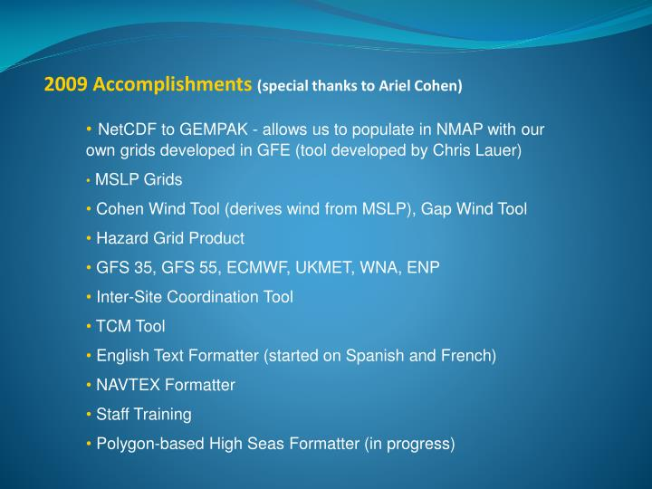 2009 Accomplishments
