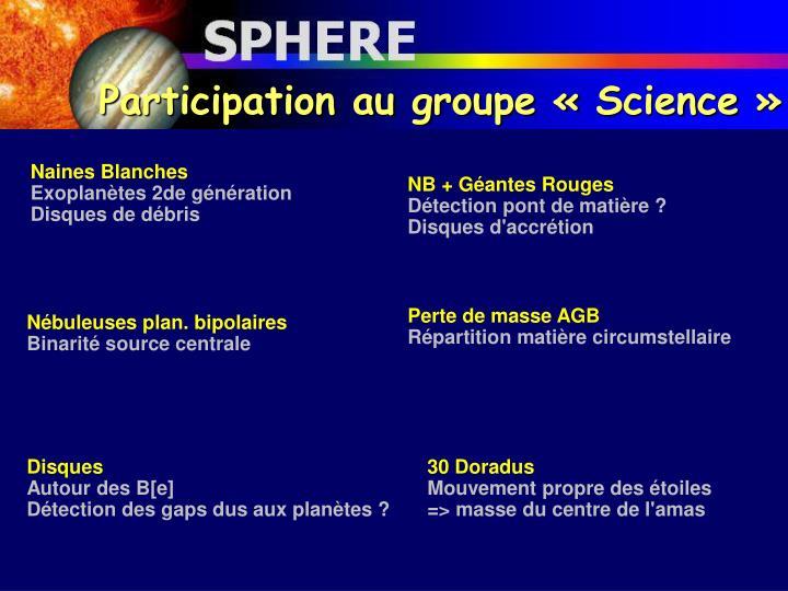 Participation au groupe «Science»