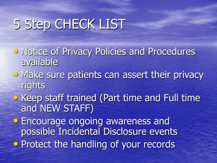 5 Step CHECK LIST