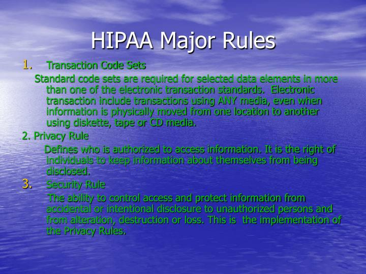 HIPAA Major Rules