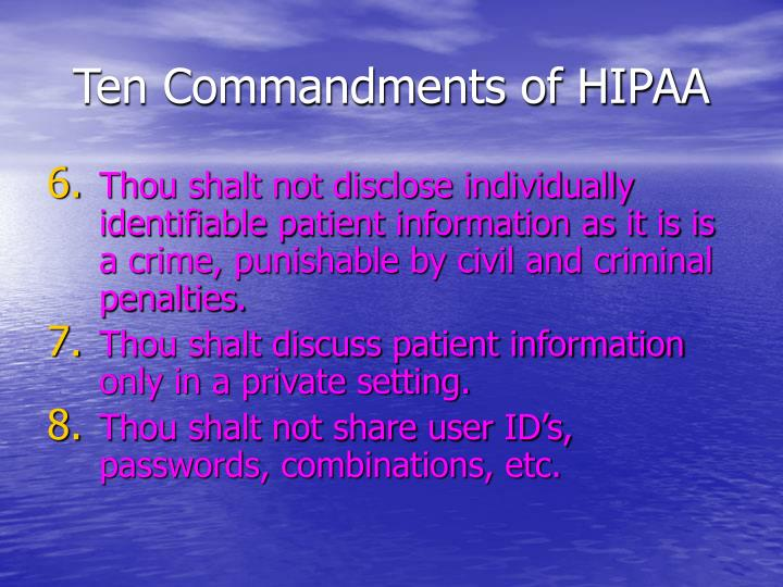 Ten Commandments of HIPAA