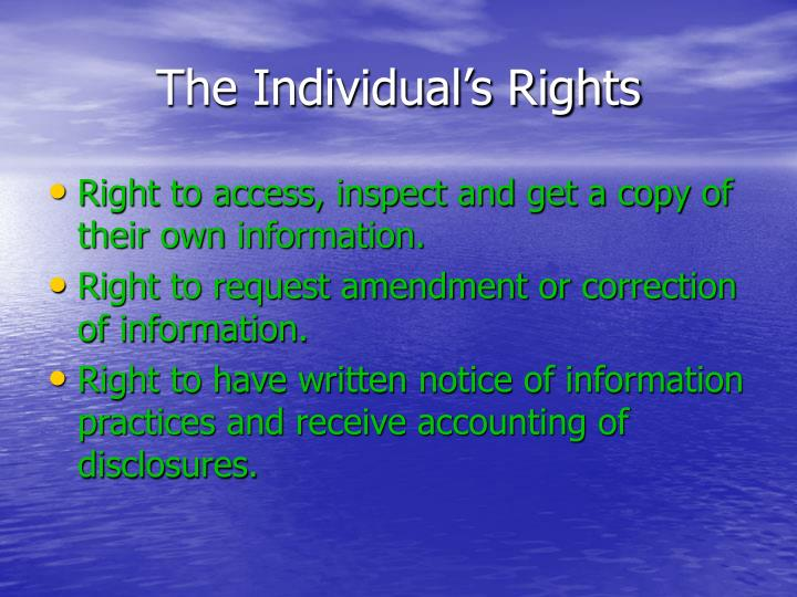 The Individual's Rights