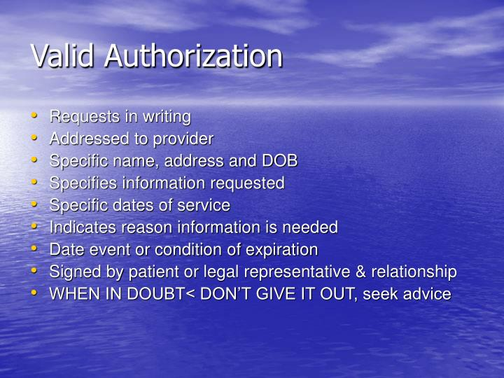 Valid Authorization