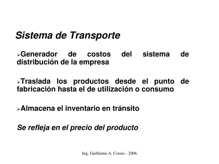 Generador de costos del sistema de distribución de la empresa