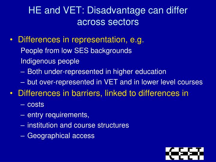 HE and VET: Disadvantage can differ across sectors