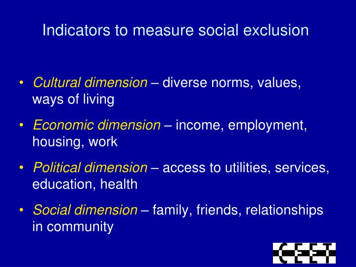 Indicators to measure social exclusion