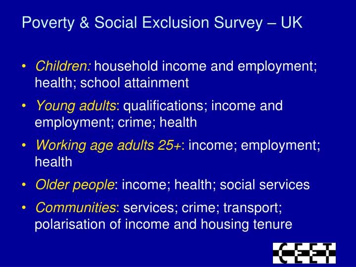 Poverty & Social Exclusion Survey – UK