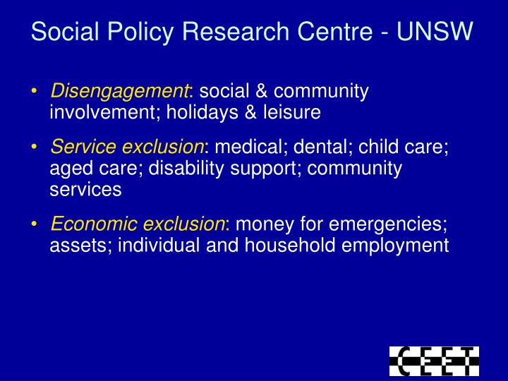 Social Policy Research Centre - UNSW
