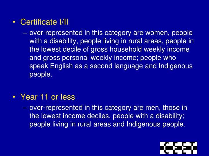 Certificate I/II