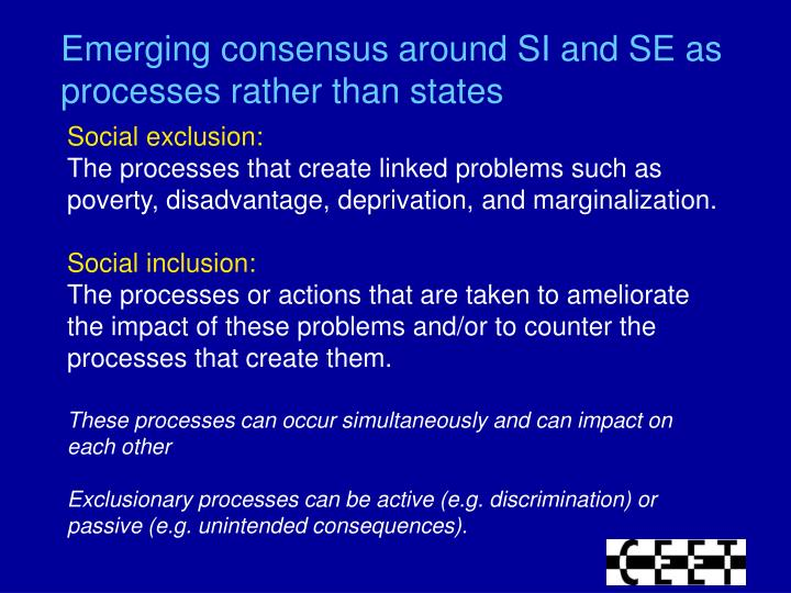 Emerging consensus around SI and SE as processes rather than states