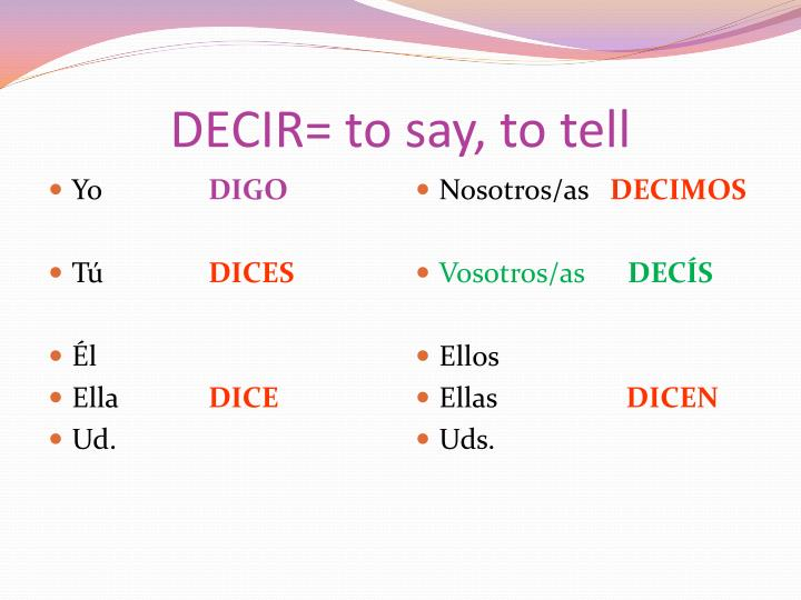 DECIR= to say, to tell