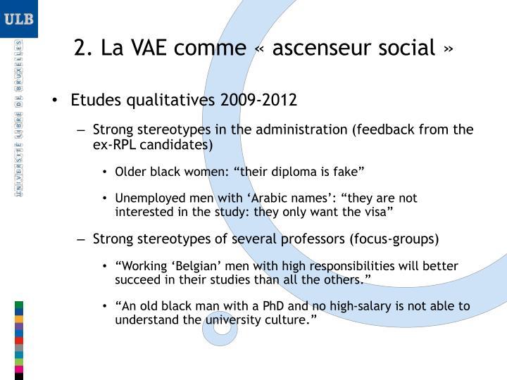 2. La VAE comme «ascenseur social»