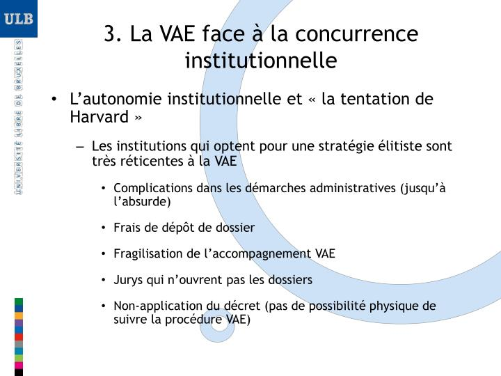 3. La VAE face à la concurrence institutionnelle