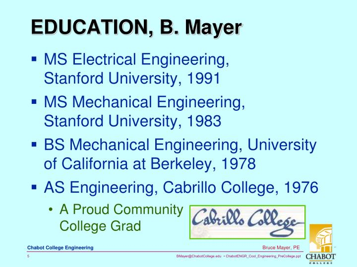 EDUCATION, B. Mayer