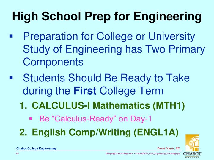 High School Prep for Engineering
