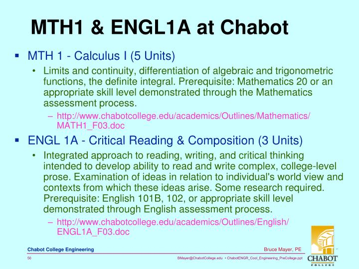 MTH1 & ENGL1A at Chabot
