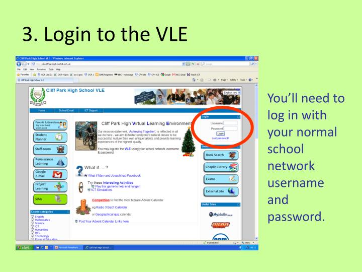 3. Login to the VLE