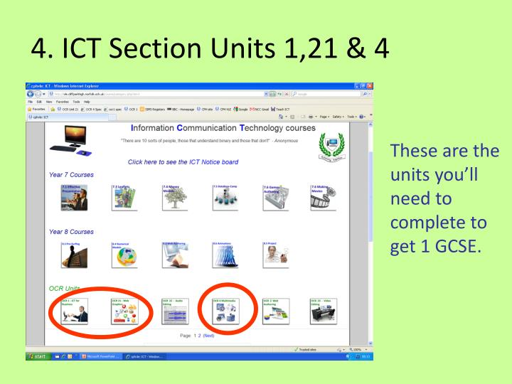 4. ICT Section Units 1,21 & 4