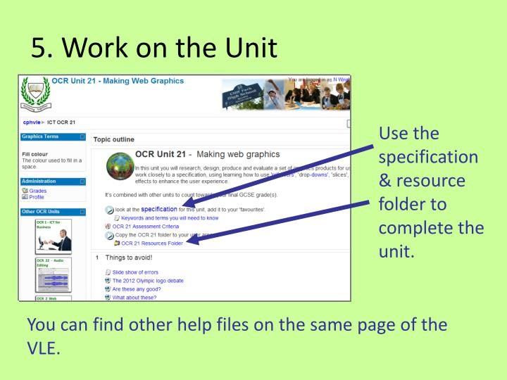 5. Work on the Unit