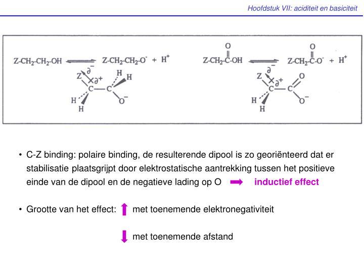 C-Z binding: polaire binding, de resulterende dipool is zo georiënteerd dat er stabilisatie plaatsgrijpt door elektrostatische aantrekking tussen het positieve einde van de dipool en de negatieve lading op O