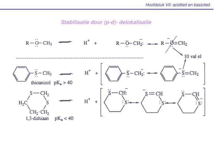 Stabilisatie door (p-d)- delokalisatie