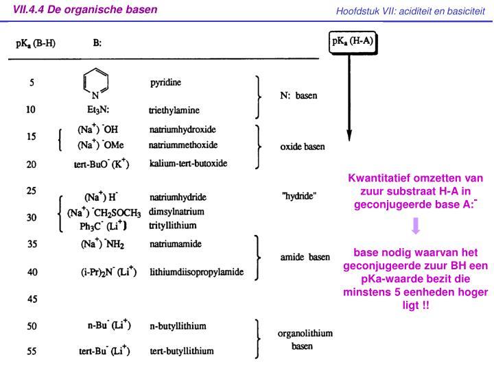 VII.4.4 De organische basen