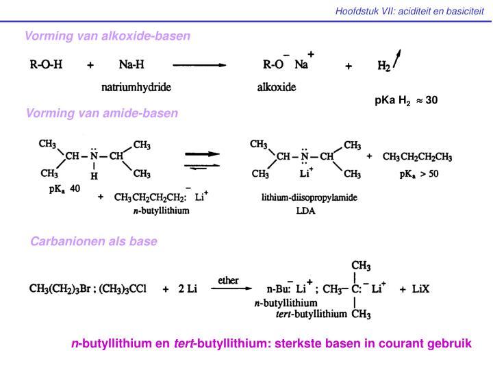 Vorming van alkoxide-basen