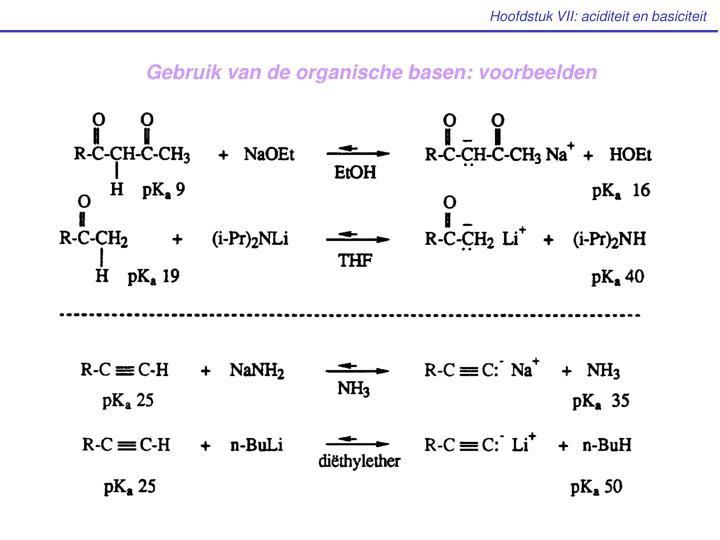 Gebruik van de organische basen: voorbeelden