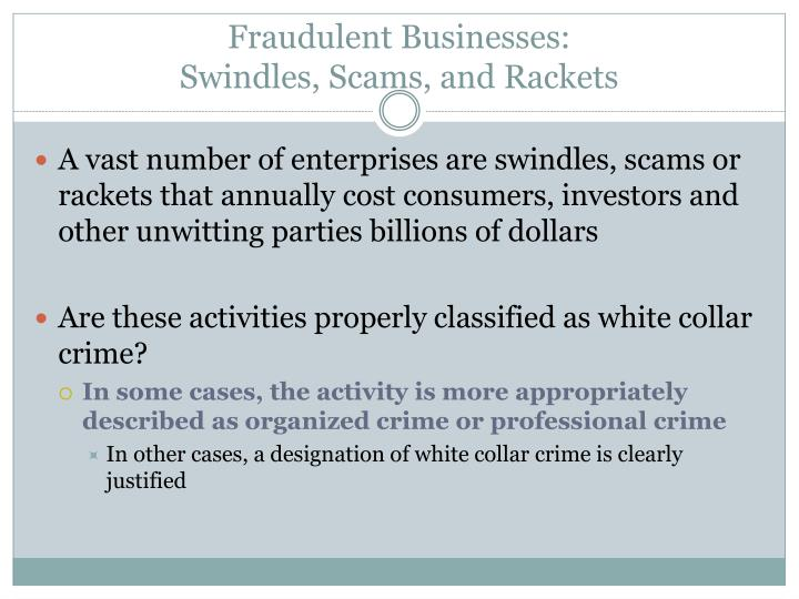 Fraudulent Businesses: