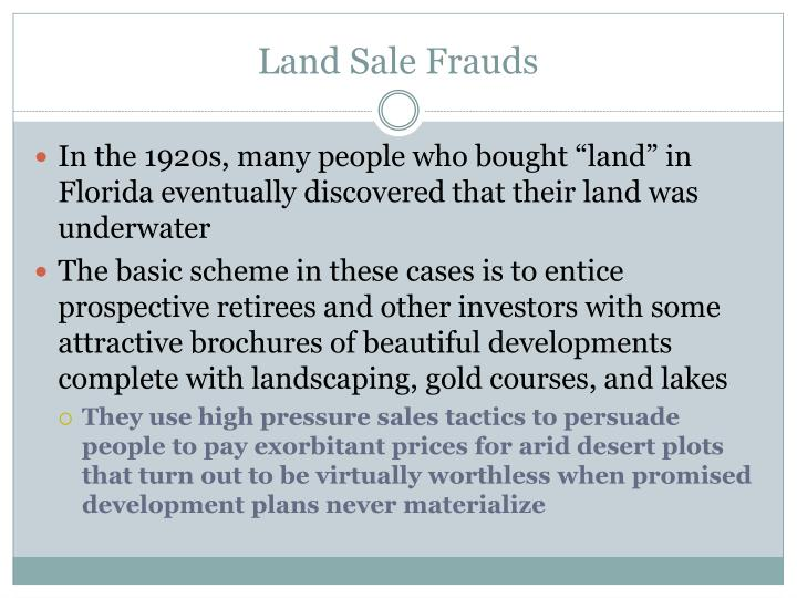 Land Sale Frauds