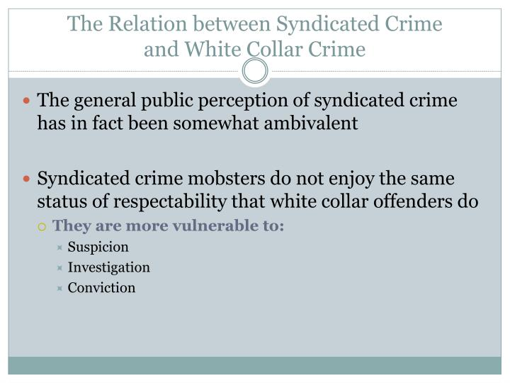 The Relation between Syndicated Crime