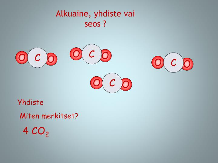 Alkuaine, yhdiste vai seos ?
