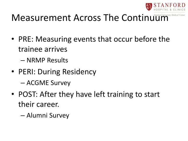 Measurement Across The Continuum