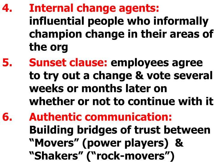 Internal change agents: