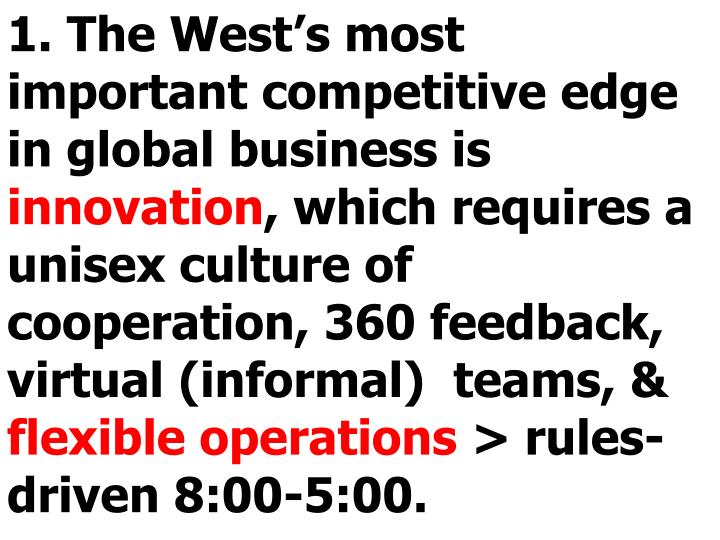 1. The West's most important competitive edge in global business is