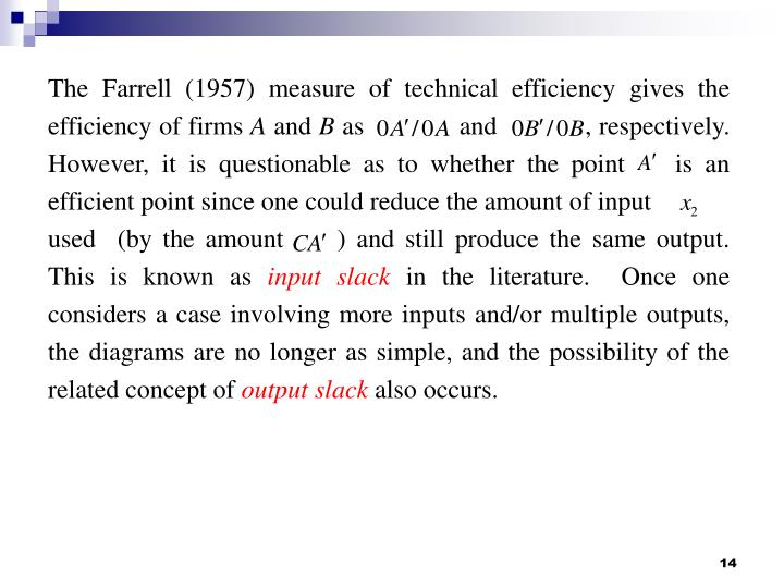 The Farrell (1957) measure of technical efficiency gives the efficiency of firms