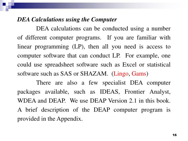 DEA Calculations using the Computer