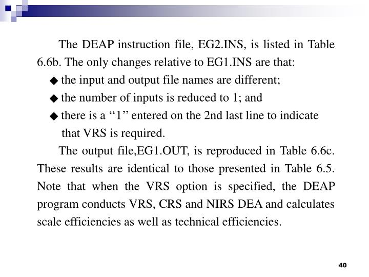The DEAP instruction file, EG2.INS, is listed in Table 6.6b. The only changes relative to EG1.INS are that: